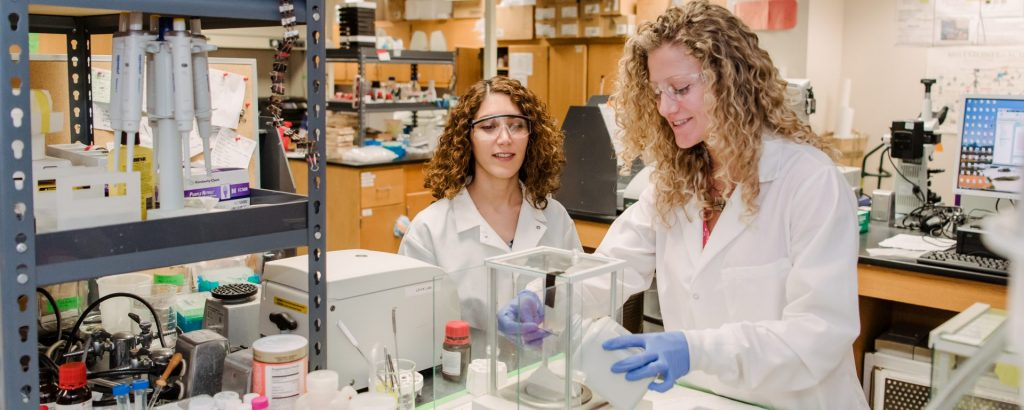 Zahra Ghassemi & Laura Simpson, CENG PhD '19, working in the lab. Photo courtesy of Marlayna Demond '11 for UMBC.