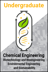 CBEE's logo, with text for Chemical Engineering Undergraduate Programs with academic tracks for chemical engineering, biotechnology and bioengineering, and environmental engineering and sustainability.